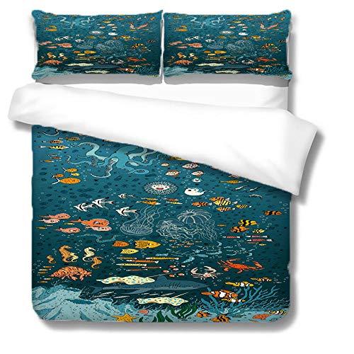 Juego de funda de edredón con impresión 3D, diseño de criaturas en el océano, tamaño King, 220 x 230 cm, microfibra suave para niños, incluye 2 fundas de almohada de 50 x 90 cm