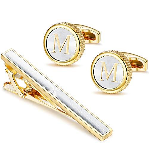 LOLIAS Mens Cufflinks Tie Bar Clip Set Alphabet Letter Cufflinks Formal Business Wedding Shirts Gift Box,M