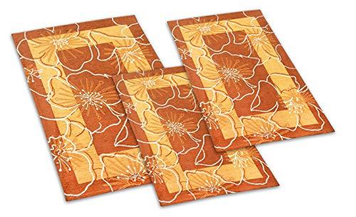 Confezioni Giuliana Tris Tappeto Moderno Camera da Letto Scendiletto 3 Tappeti Orchidea Arancio