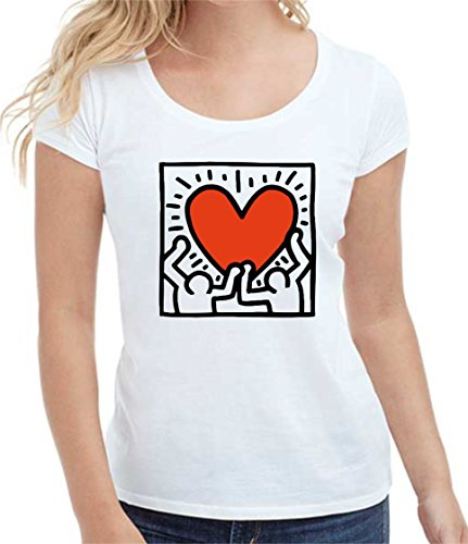 bemode T-Shirt Donna Manica Corta in Cotone Heart (M, Bianco)