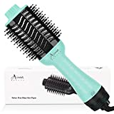 Hot Air Brush, Aima Beauty Professional One Step Hair Dryer & Volumizer 4 in 1 Upgrade Anti-Scald Negative Ionic Technology for All Hair Types, Light Green