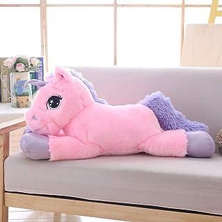 ألعاب حيوانات محشوة على شكل وحيد القرن من لانمور - وسادة ناعمة من القطيفة للبنات - وردية اللون، مقاس 78.74 سم