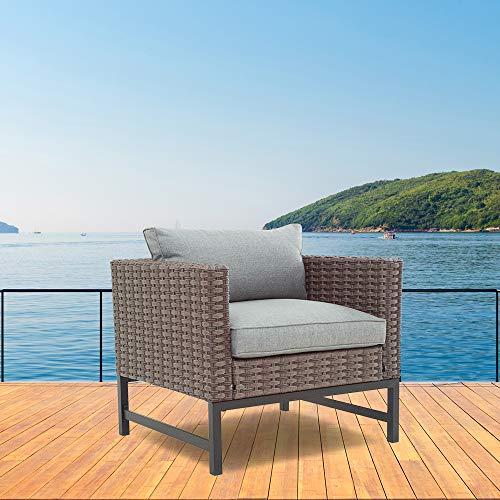 LOKATSE HOME Outdoor Patio Armchair Wicker Furniture Rattan Conversation Single Sofa Chair with Grey Cushion, Brown