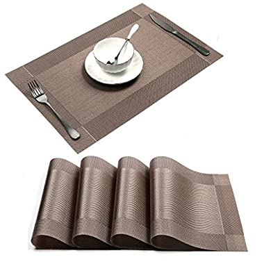 U'artlines 18 x12  PVC Placemats for Dining Table Stain-resistant Woven Vinyl Kitchen Placemat for Thanks Giving Holiday Vinyl Placemats Set of 4