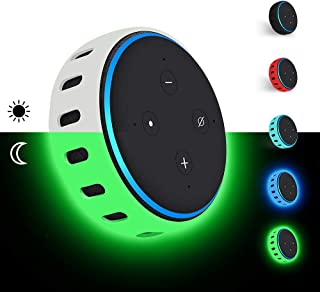 Silicone Case for Amazon Echo Dot 3rd Generation, Smart Speaker Cover Protective Holder Skin Sleeve Stand Light Weight Soft Shockproof Cases Accessories Protector-Glow Green