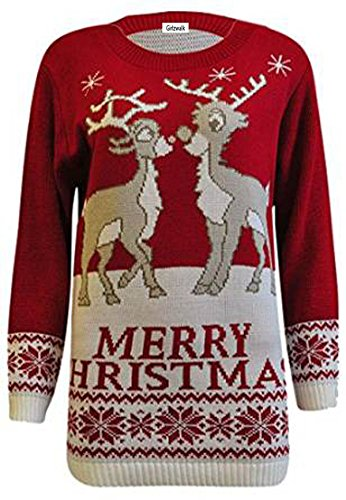 Girlzwalk Damen-Weihnachtspullover, mit Rentier-Weihnachtsbaum-Stern-Motiv. Gr. ML = 38-40, 2 Reindeer Red