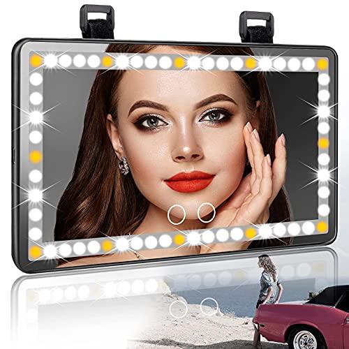 Voiture Visière Miroir LED Miroir de Maquillage Rechargeable de Voitur Miroir de courtoisie universel avec visière éclairée pour voiture avec 3 modes d'éclairage 60 LED pour SUV de camion de voiture