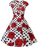 Bbonlinedress Vestido Corto Mujer Retro Años 50 Vintage Escote En Pico White Black Rose M