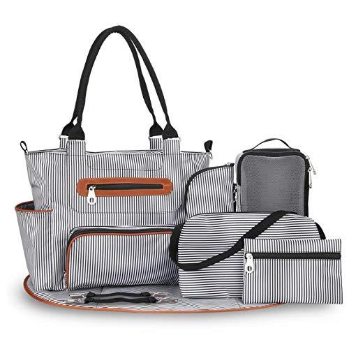 Rawikan Bolsa de pañales de 7 piezas, bolsa de viaje con correas para cochecito de bebé, color negro