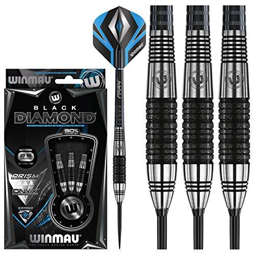 WINMAU Black Diamond Set de Dardos de Punta de Acero de Tungsteno 25 Gramos con Prism Alpha Vuelos...