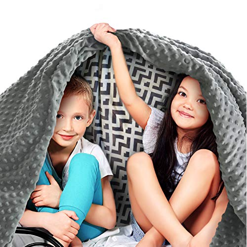 Quility Premium Kids Weighted Blanket & Removable Cover - 5 lbs - 36'x48' - for a Child Between 40-70 lbs - Single Size Bed - Premium Glass Beads - Cotton/Minky - Grey/Chevron Print Color