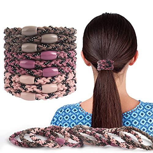 9 cintas de pelo, para coletas de caballo, para cabello grueso, cintas elásticas para el pelo, sin arrugas, sin daño, bandas de goma para cabello grueso, pesado y rizado. (rosa/púrpura/gris)