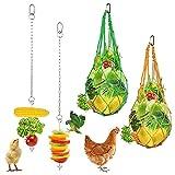 Geila 4pcs Chicken Vegetable Hanging Feeder Toy Stainless Steel Chicken Feeder Veggies Skewer Fruit Food Holder Poultry Cabbage Feeder Treat Feeding Tool String Bag with 2 Pieces Hooks for Hen Chicken