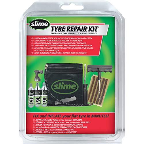 Slime 20382 Reparatur- und Aufpumpset für schlauchlose Reifen, Notfallreparatur von Einstichstellen bei Anhänger & Geländewagen, schnell und einfach, mit Minikompressor