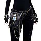 LiangDa Riñonera Steampunk Zapatos de Piel de Steampunk Bolsa de Hombro de la Vendimia de Steampunk gótico Paquetes de la Cintura de la Pierna Bolsa (Color : Photo Color, Size : One Size)