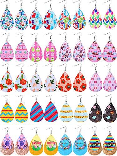 20 Pendientes de Cuero de Imitación de San Patricio Pascua Pendientes de Colgante con Estampado de Trébol Huevos de Pascua Flores Conejo de Lágrima Ligera para Regalo de Pascua Mujer (Pascua)