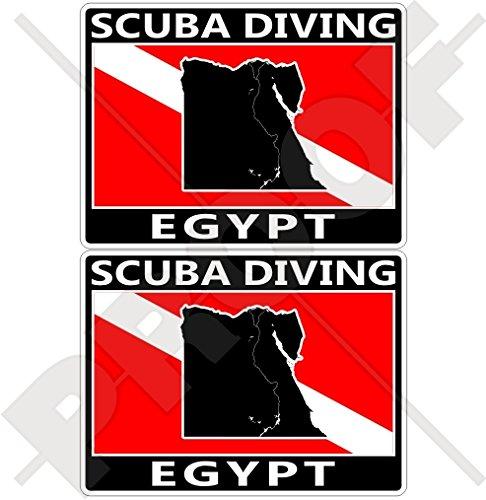 Lot de 2 autocollants rectangulaires en vinyle pour pare-chocs Motif drapeau égyptien de Plongée 75 mm