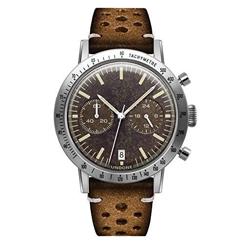 Undone Urban Tropical Sahara Hybrid Chronograph Quarz Mechanische Edelstahl Leder Bronze Braun Herren Uhr