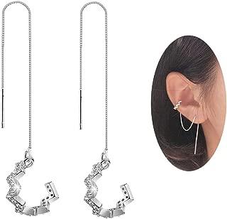 SLUYNZ 925 Sterling Silver New Arrival Wave Cuff Earrings Wrap Tassel Earrings for Women Threader Earrings Perfect Valentine's Day Gifts