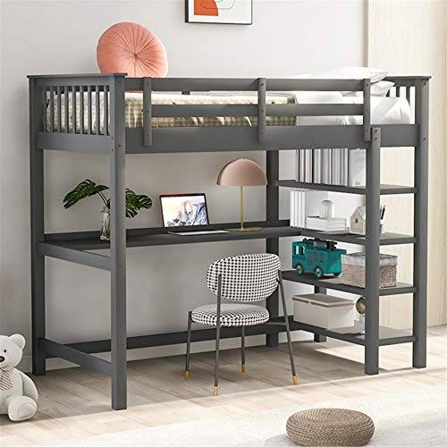 Twin Loft Bed , Loft Bed with Desk and Storage Shelves, Rubber Wooden Kids Loft Bed Twin , No Box Spring Needed (Twin,Gray )