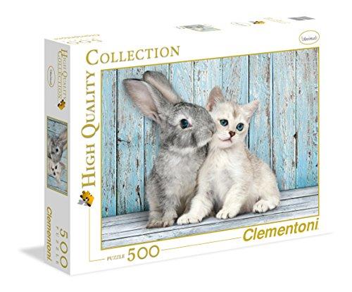 Clementoni-Los Pingüinos De Madagascar Puzzle 500 Piezas Gato Conejo (350049)
