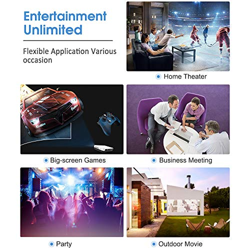 Projector WOWOTO H9 4000 Lumens Mini Projector LED DLP 1280x800 Real Home Theater Video Projector Wireless Screen Share Support 1080P 3D to 2D HDMI 176'' Android