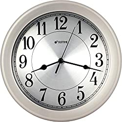 JUSTIME 8.5 inch Brushed Nickel Water Resistant Wall Clock, Special for Small Space, Office, Boats, RV (WM86007-BNS Brushed Nickel)