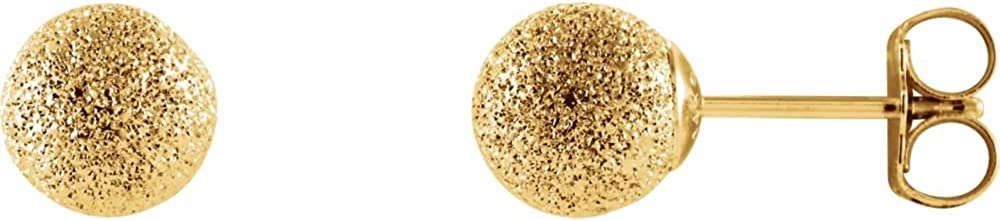 06.00 mm Pair of Ball Earrings with Star Dust Finish and Backs in 14K Yellow Gold