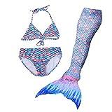 DAYU Girls Mermaid Tail Swimsuit Swimming Costume 3 Pcs Swimwear Purple