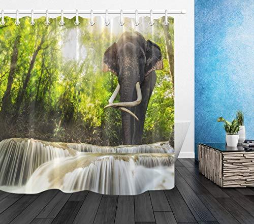 LB Elefant Duschvorhang Tier im grünen Wald am Wasserfall Gemustert Polyester Stoff Extra lang Badevorhänge Wasserdicht antischimmel Badezimmer Dekor Heimzubehör mit Vorhanghaken,150X180cm