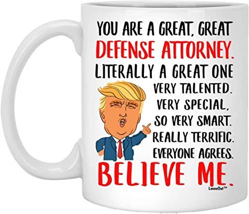Grandes regalos de abogado de defensa para ideas de cumpleaños, divertidas tazas para compañeros de trabajo, regalos de Navidad para hombres y mujeres, taza de café blanca de 11 onzas
