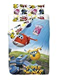 Super Wings Saco Nórdico para Cama, Algodón-Poliéster, Multicolor, Individual, 190x90x25 cm, 2 Unidades