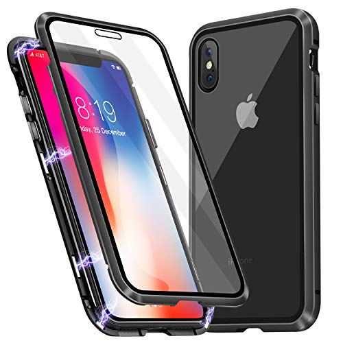 iPhone Xs Case, iPhone X Case, MISSCASE Ultra-Thin Magnetic Adsorption Case Front and Back Tempered Glass Full Screen Coverage One-Piece Design Flip Cover for Apple iPhone X/Xs (Clear Black)