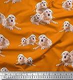 Soimoi Orange Viskose Chiffon Stoff Golden Retriever Hund