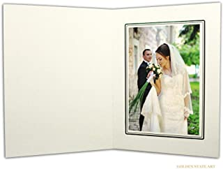Golden State Art, Acid-Free Photo Folders for 5X7 Picture,Pack of 50 Ivory with Black Lining Cardboard/Paper Frames,Great for Portraits and Photos,Special Events: Graduation,Wedding,PF013