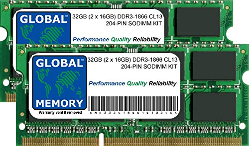 32GB (2 x 16GB) DDR3 1866MHz PC3-14900 204-PIN SODIMM MEMORY RAM KIT FOR LAPTOPS/NOTEBOOKS