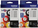 Brother LC-201BK Ink Cartridge (Black 2-pack) in Retail Packaging