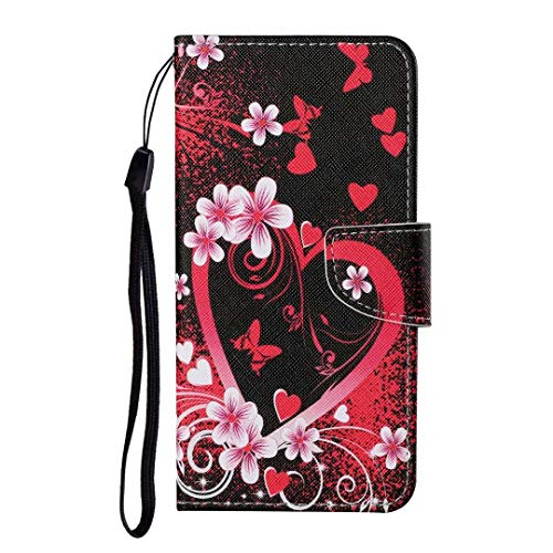 iPhone 11 Pro Max Case, Shockproof Premium PU Leather Shock-Absorption Notebook Wallet Phone Cases with Magnetic Kickstand Card Holders Bumper Flip Protective Cover for iPhone 11 Pro Max Red heart