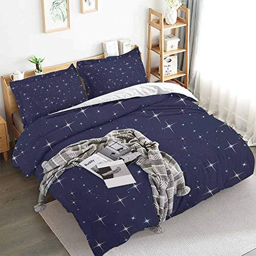 Aishare Store Space - Juego de funda de edredón con diseño de estrellas, diseño romántico de fondo punteado, 3 piezas con 2 fundas de almohada, color morado y blanco