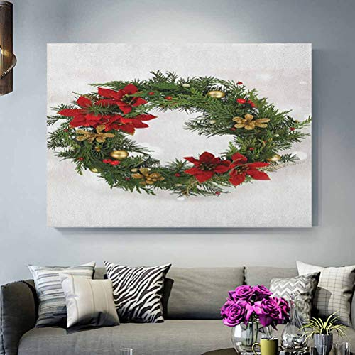 ScottDecor Christmas Tv Wall Poster Floral Wreath Cultural Design Poinsettia Blossoms Holly Pine Cone Branches Husband Green Red Gold L30 x H60 Inch