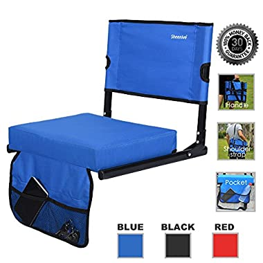 Sheenive Stadium Seat - Wide Padded Cushion Bleacher Stadium Chairs Seats for Outdoor Bench Bleachers with Leaning Back Support and Shoulder Strap, Perfect For NFL & Baseball etc Games, Blue