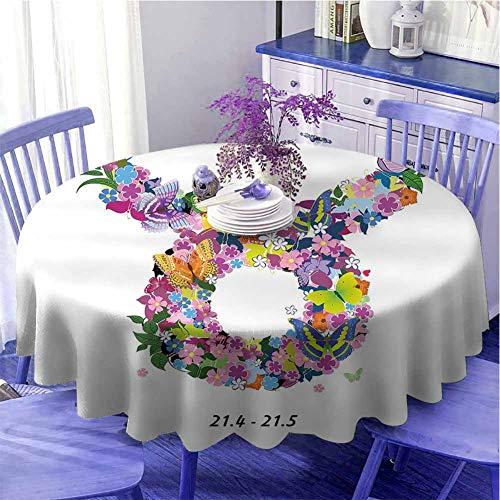 Taurus - Mantel redondo con diseño de flores con mariposas y diseño del zodíaco de primavera, diseño de cuernos de toro con mariposas de 129,5 cm de diámetro, multicolor