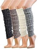 krautwear® - Scaldamuscoli per gambe da donna, 4 paia di scaldamuscoli a maglia grossa co...