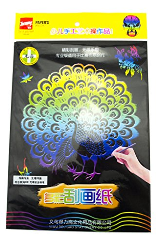 HAND JM-0246 Scratch Art Paper 29 cm x 21 cm Multicoloured 5 Sheets