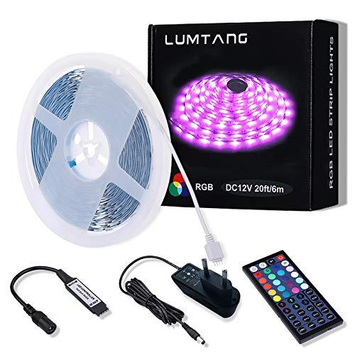 LED Strip, 6m RGB LED Streifen Set SMD 5050 LED Leuchten, Farbwechsel LED Band mit 44 Tasten RF Fernbedienung 12V UL-Netzteil für Räume, Bar, Festivaldekoration und Beleuchtung (6M)