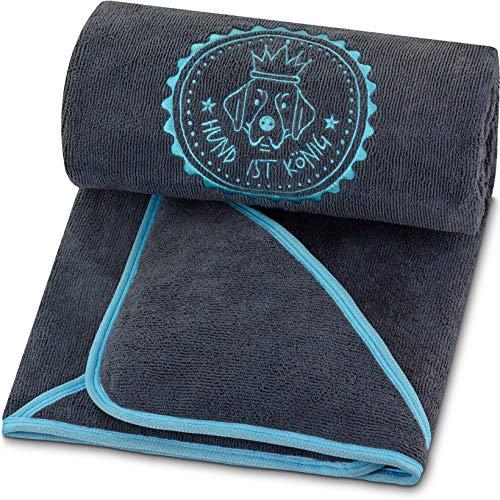 Premium Hundehandtuch extra saugfähig, ultra weich & flauschig, Hunde Handtuch aus leistungsfähiger Mikrofaser mit 4 Eingriffen, bei 60° waschbar, schnell trocknend, 130x75cm (Dunkelgrau-Türkis)