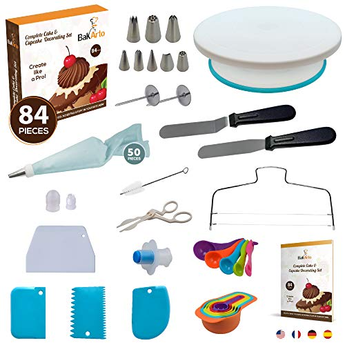 Complete Cake Decorating Kit – 84 pcs Cake & Cupcake Decoration Supplies Set with Cake Decorating Turntable, Easy to Use Cake Leveler & More Baking Decoration Tools for Beginners, Adults, Kids, Teens