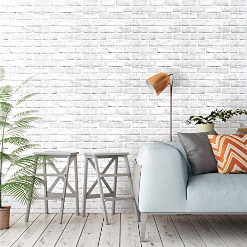 Akea White Gray Brick Wallpaper 17.7x236.2 Inch Self-Adhesive Removable Durable Peel and Stick Faux Brick Contact Paper Home Decoration