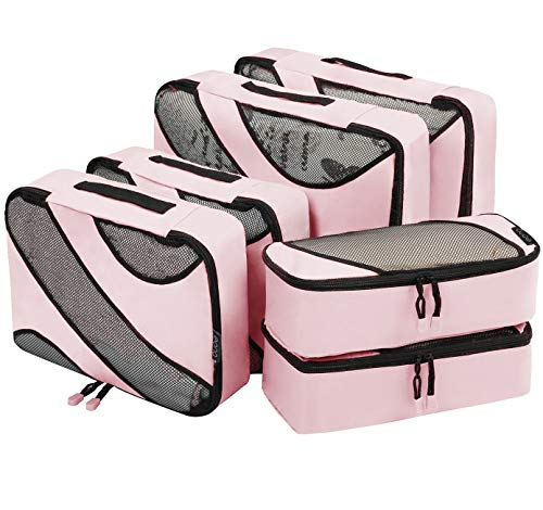 Eono by Amazon - Packing Cubes Travel Luggage Organizers Suitcase Organizer Packing Organizers, 6 Set (2L+2M+2Slim), Pink