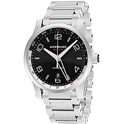 Montblanc Men's 43mm Steel Bracelet & Case Automatic Black Dial Watch 109135